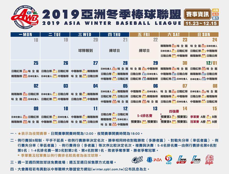 2019亞洲冬季棒球聯盟 (LIVE直播線上看、網路電視轉播、冬盟賽程表)