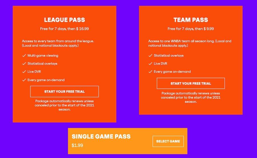 WNBA直播 | WNBA LEAGUE PASS售價